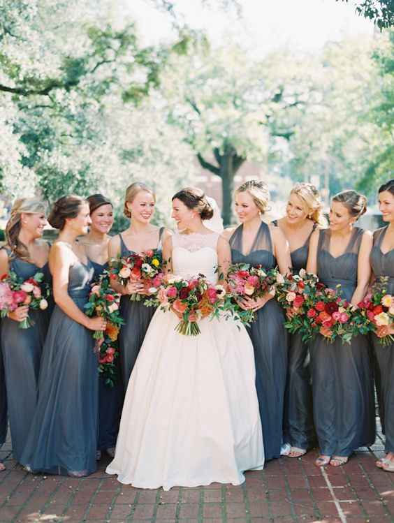 dark grey bridesmaids' dresses