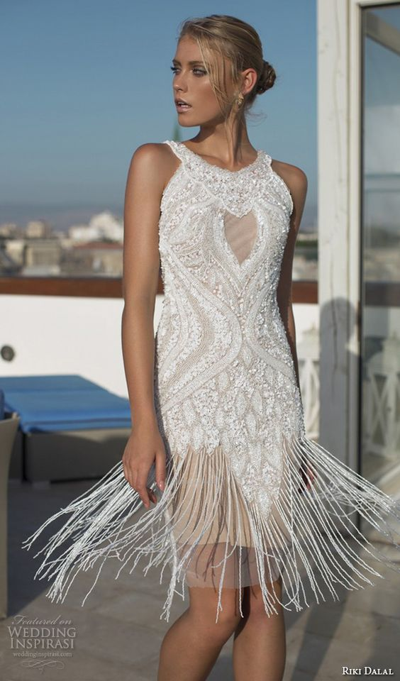 halter neckline short lace fringe wedidng gown