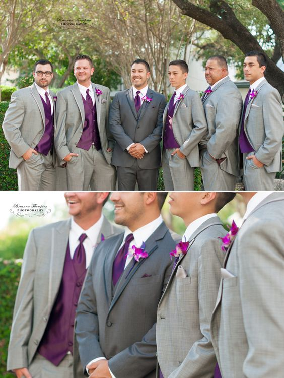dark grey suit for the groom and light grey suits for the groomsmen