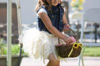 15 a white tutu dress, a denim vest and boots for a rustic fall wedding