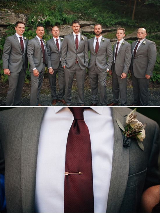 Picture Of dark grey suits for the groom and his groomsmen