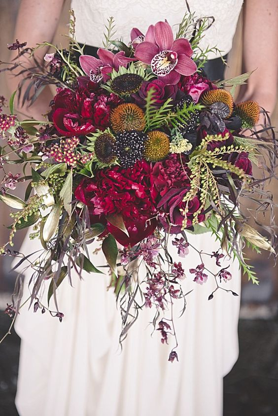 deep berry hued wedding bouquet