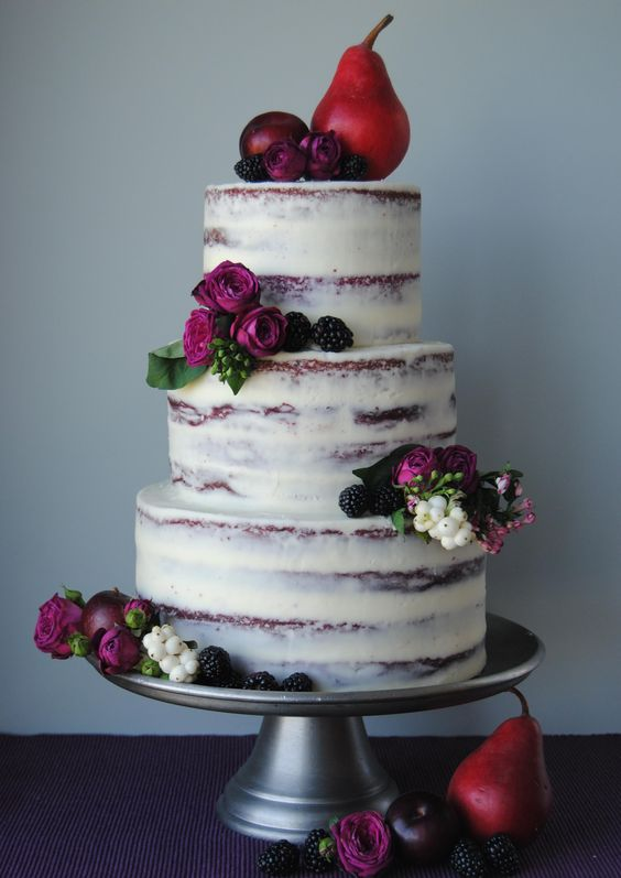 Fall Wedding Cake With Pears Blackberries And Purple Flowers