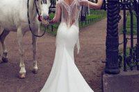 15 long plain wedding dress with a fringe back