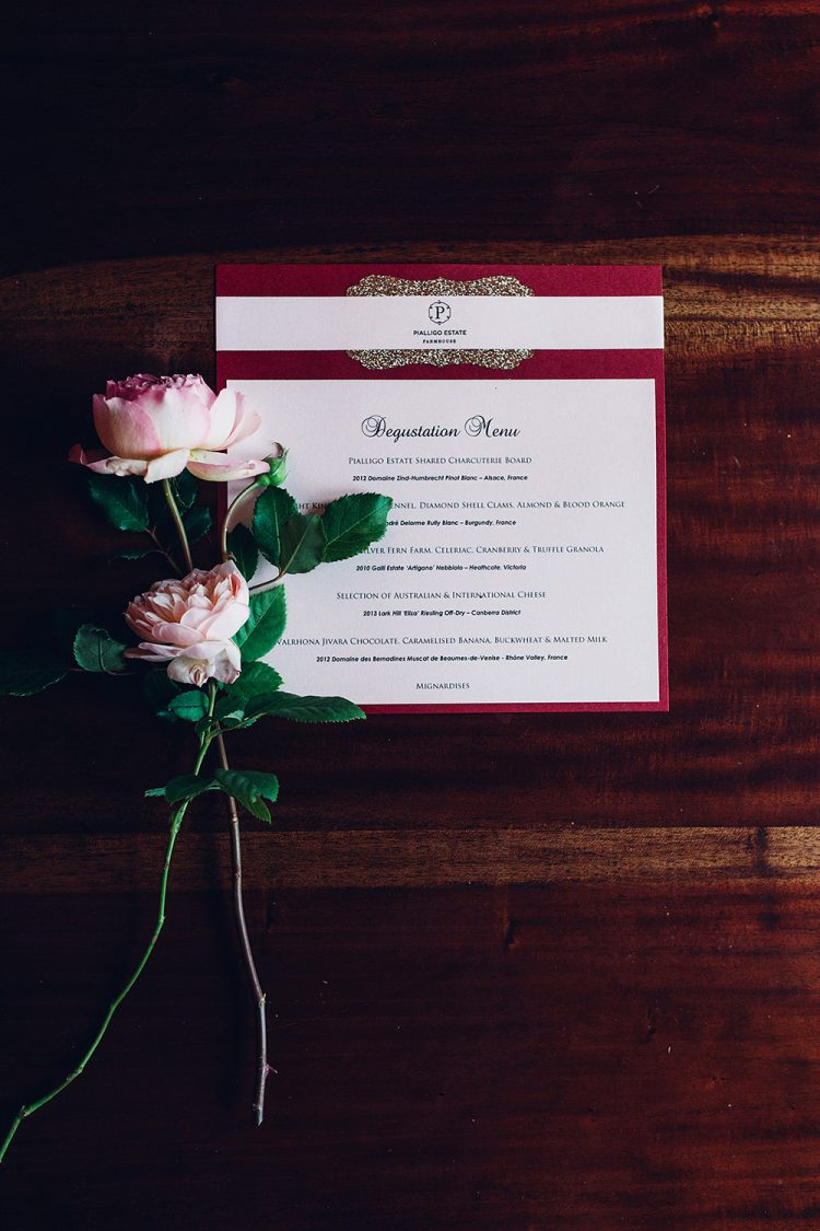 The same color scheme was chosen for the menus and invitations