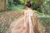 16 beige and brown tutu dress for a fall flower girl