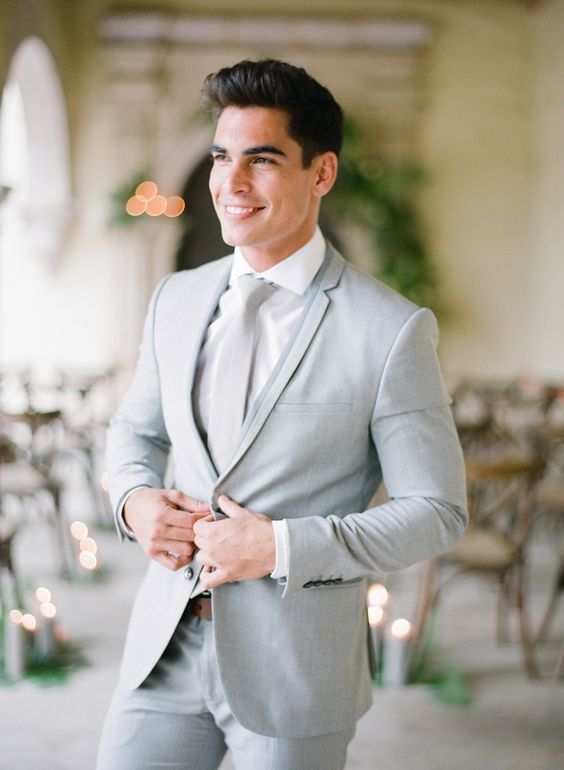 light grey groom's outfit
