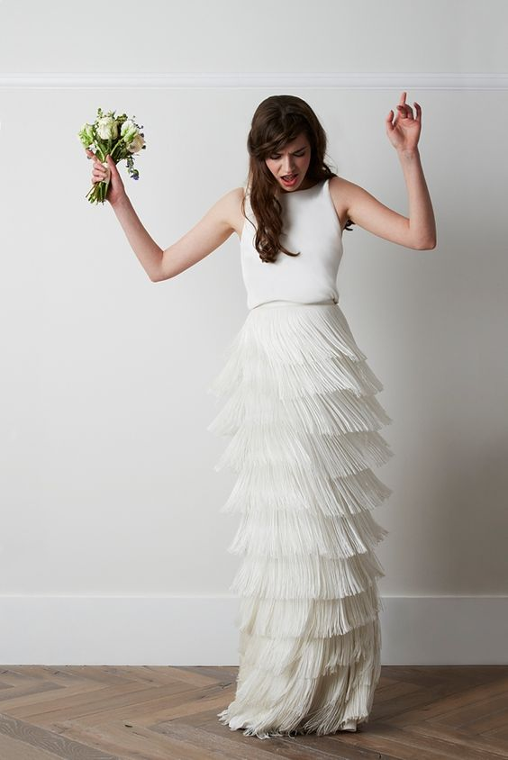 plain top and fringed skirt wedidng dress