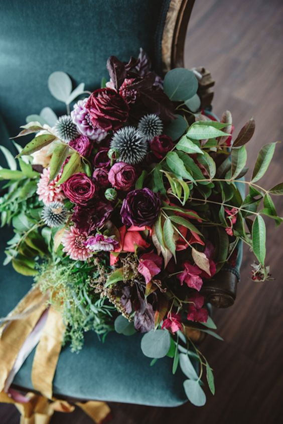 vintage bouquet with red and thistle