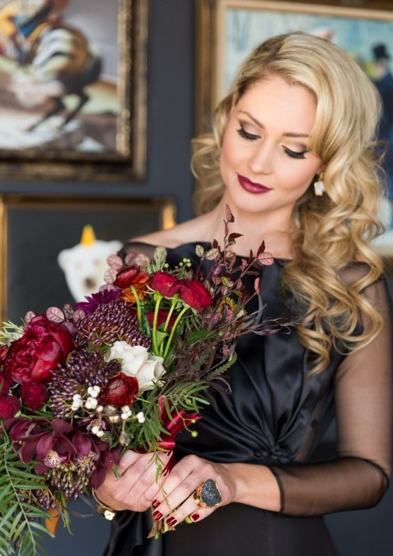 moody colored wedding bouquet with red roses (photo by Cavin Elizabeth Photography)