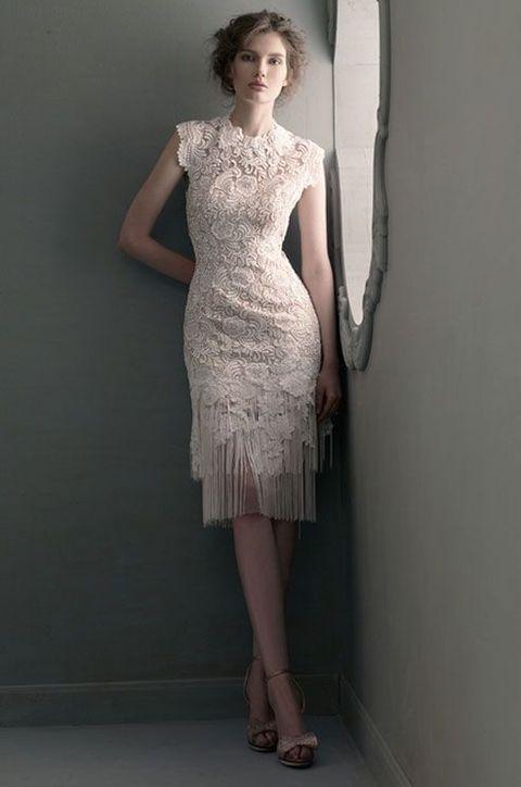 20 fringe wedding dresses that catch an eye weddingomania for Petite short wedding dresses