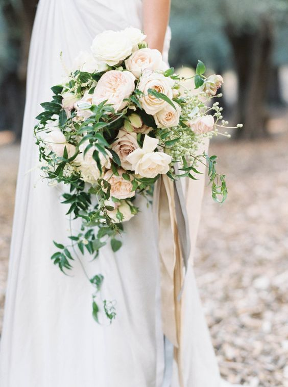 17 white peonies, ranunculus, Sahara roses with a nude ribbon