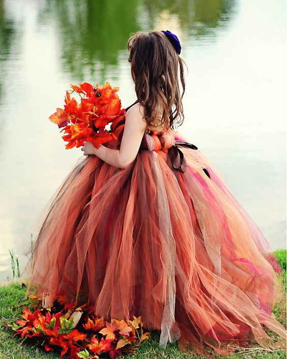 bold shades of red and brown tutu dress