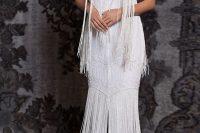 18 sleeveless jewel neck keyhole trumpet wedding dress with fringe