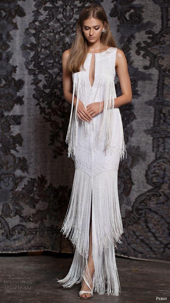 20 Fringe Wedding Dresses That Catch An Eye
