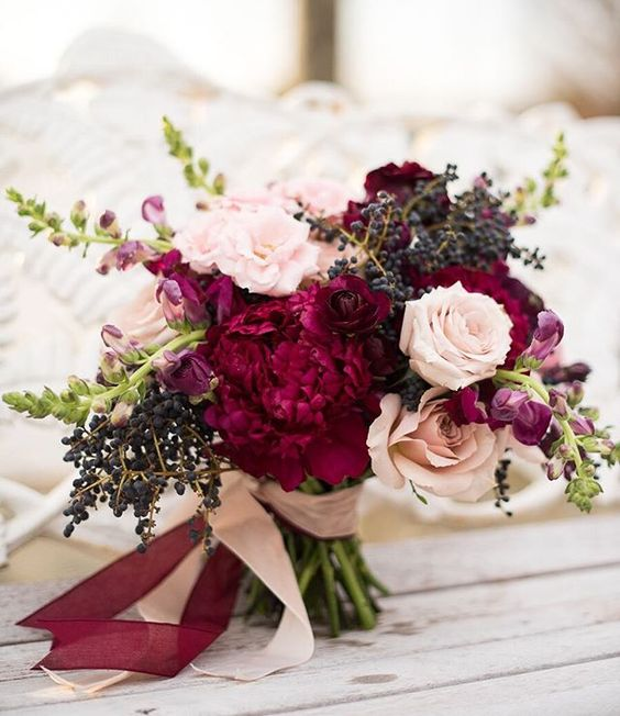 Picture Of Fall Bridal Bouquet With Burgundy Touches