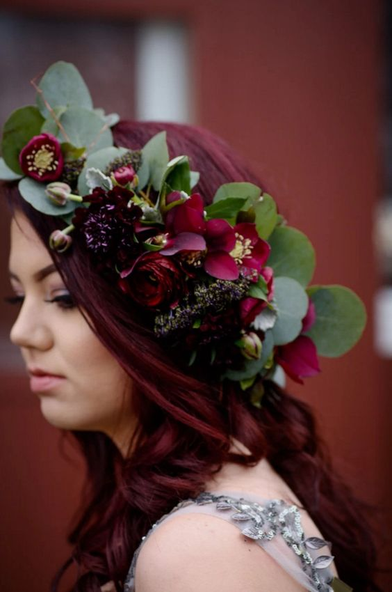 rich red flower crown on red hair