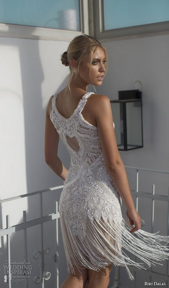 sleeveless jewel neckline beaded fringe short wedding dress