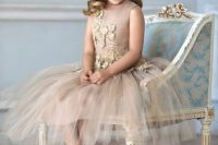 19 tan and gold tulle dress