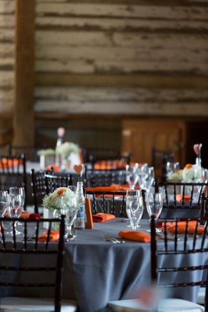 grey and orange table setting