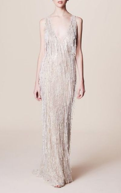 sleeveless pearl fringe wedding gown