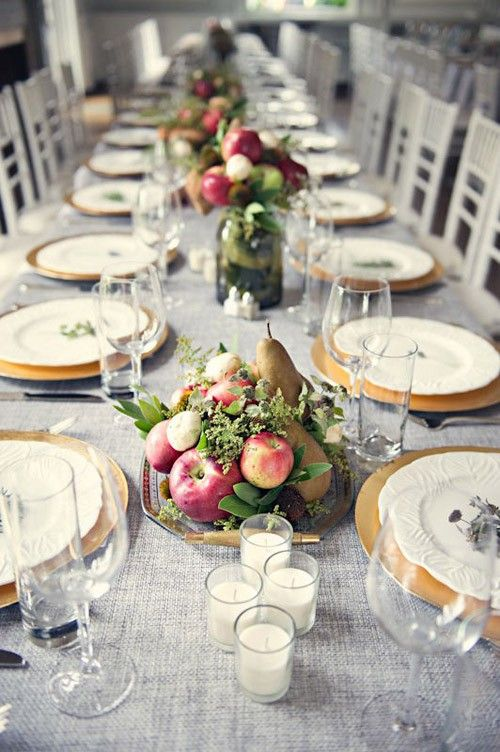 grey tablecloths and table runners for fall weddings