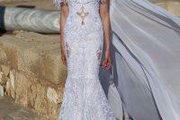 21 white mermaid lace dress with fringe