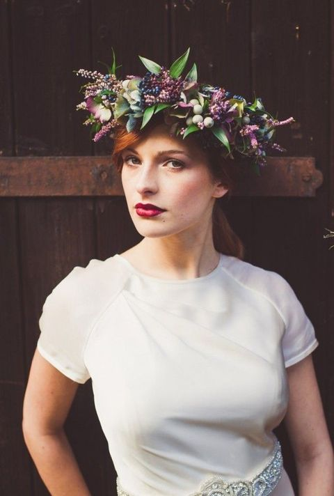 moody flower crown with wildflowers and berries