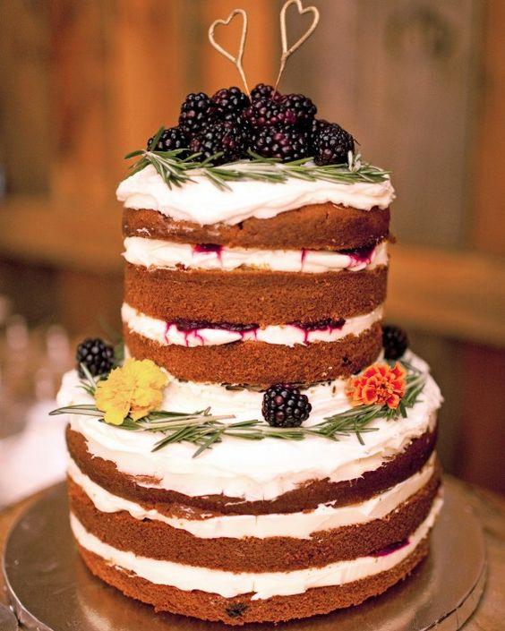 23 simple blackberry naked wedding cake