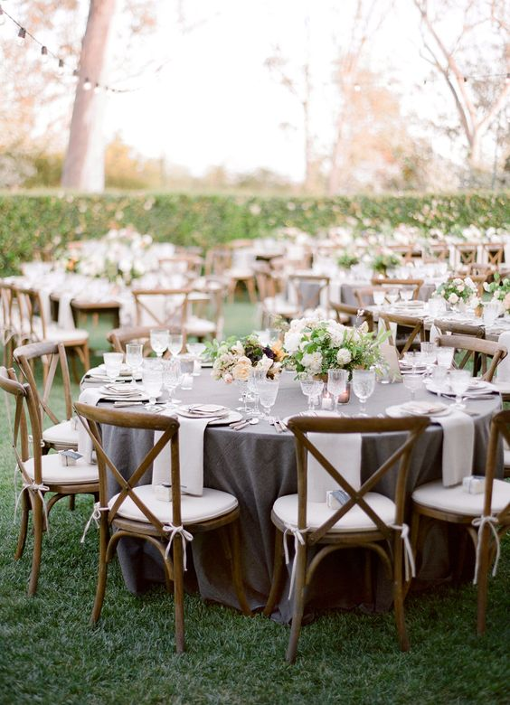 grey wedding table settings