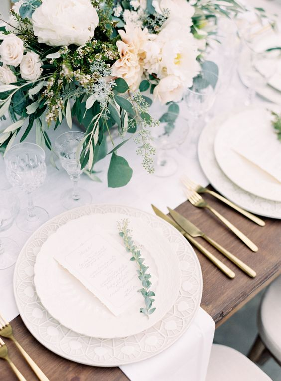 Picture Of White Table Runners Dishes Blush Florals And