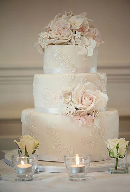 lace application rose vintage wedding cake in ivory