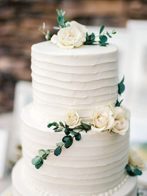 Picture Of simple, organic, white and green wedding cake