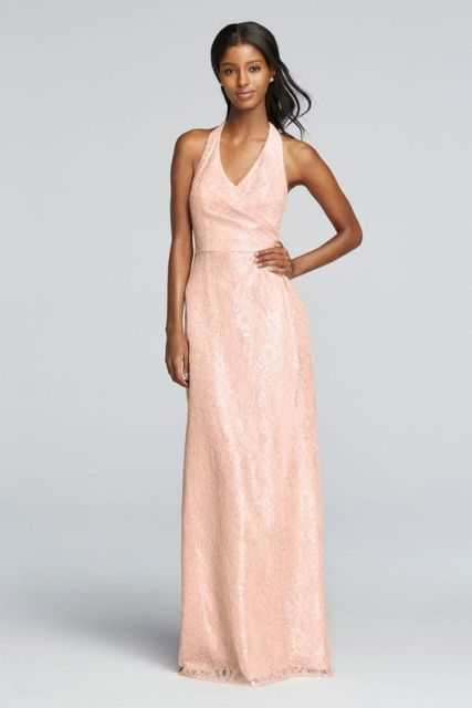 Amazing peach color maxi dress