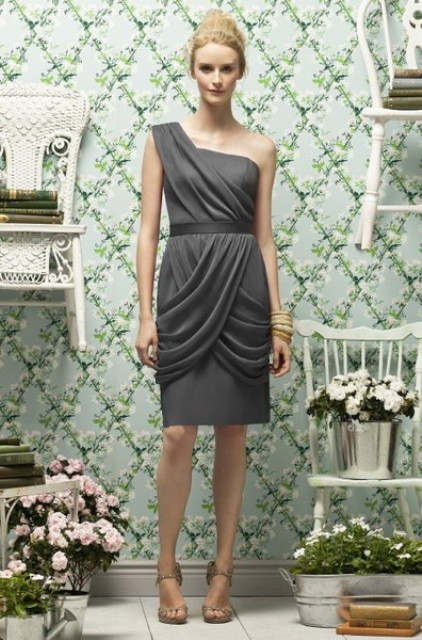 Awesome gray draped bridesmaid dress