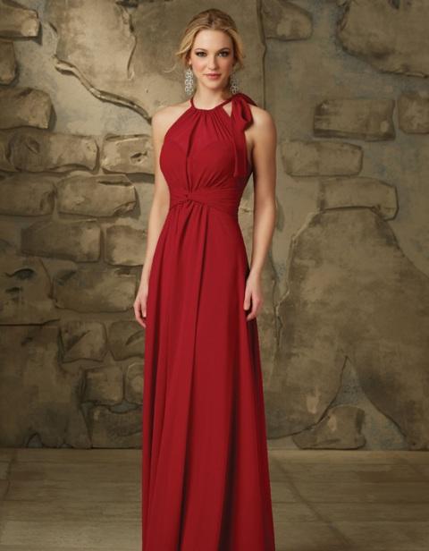 Bright red maxi halter dress