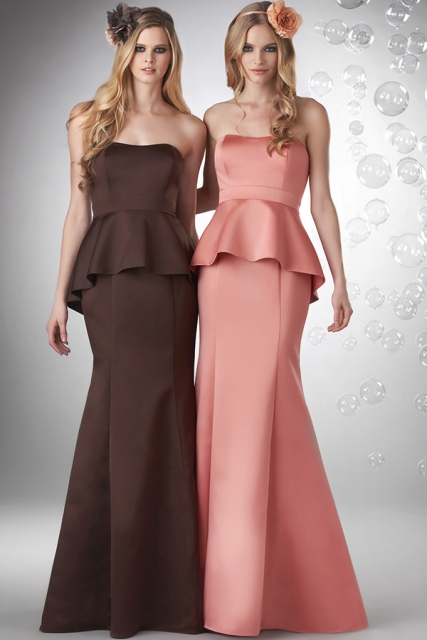Brown and pink strapless peplum maxi dresses