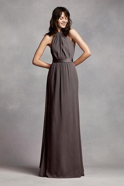 20 wonderful halter bridesmaid dress ideas weddingomania for Charcoal dresses for weddings