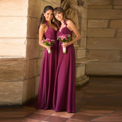 Chic burgundy maxi halter dresses