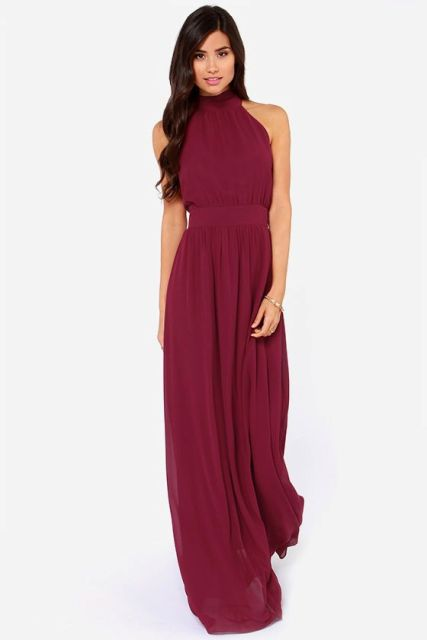 Classic marsala maxi bridesmaid dress