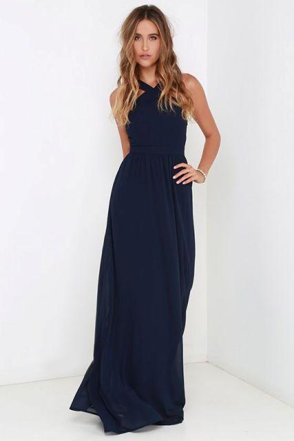 Classic maxi halter bridesmaid dress