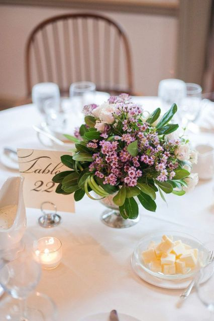 Classic table centerpiece with flowers