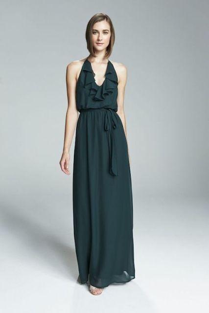 Dark green maxi dress idea