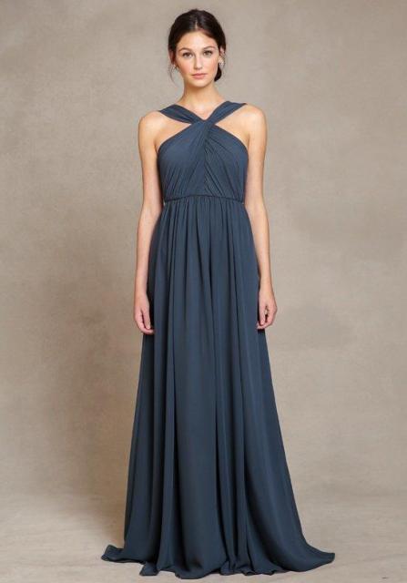Deep gray dress for elegant weddings