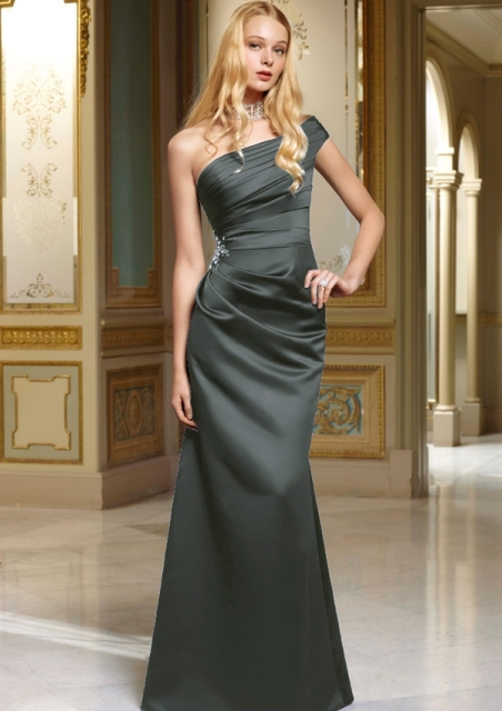 Deep gray maxi one shoulder dress