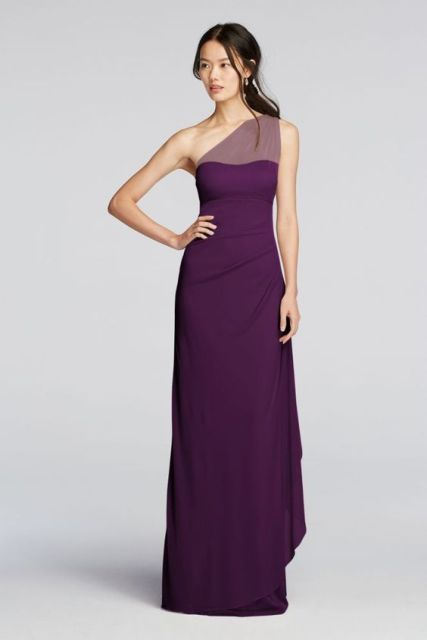 20 one shoulder bridesmaid dresses for fall weddings for Purple maxi dresses for weddings