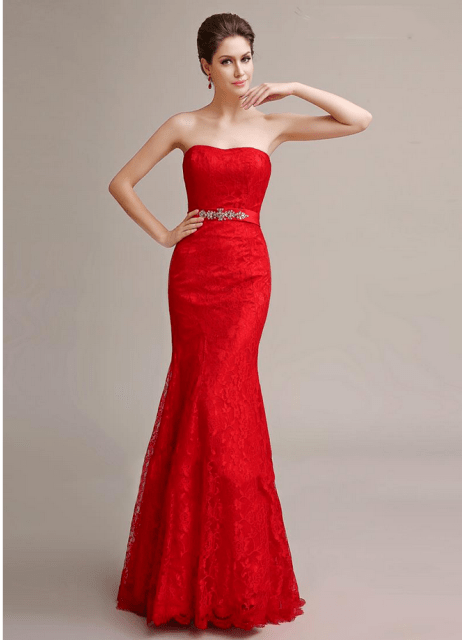 Elegant red strapless dress