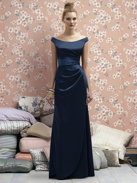 Elegant satin maxi draped dress