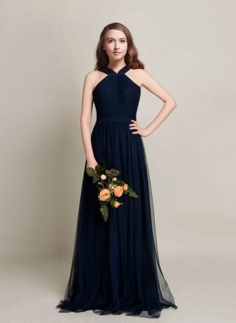 Excellent dark blue chiffon maxi dress