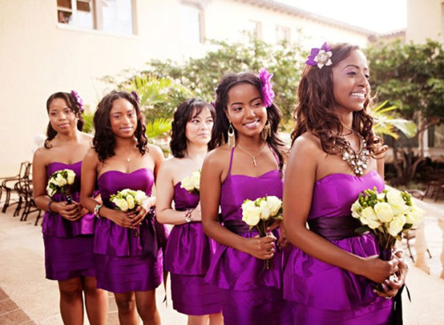 Eye-catching purple strapless dresses
